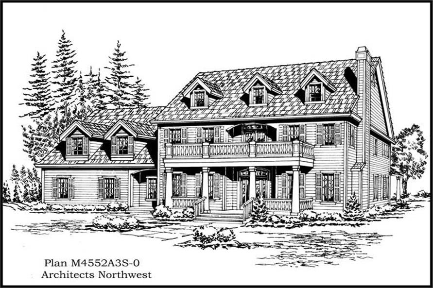 4-Bedroom, 4552 Sq Ft Colonial Home Plan - 115-1128 - Main Exterior