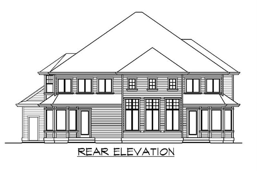 Home Plan Rear Elevation of this 4-Bedroom,4370 Sq Ft Plan -115-1129