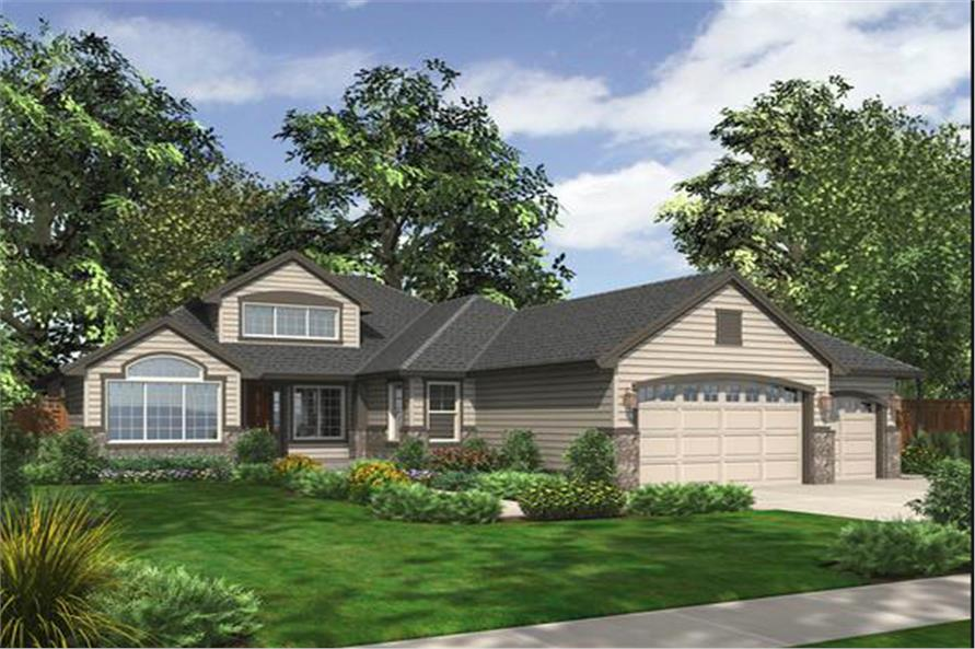 3-Bedroom, 2035 Sq Ft Ranch House Plan - 115-1133 - Front Exterior