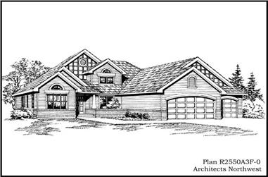 3-Bedroom, 2550 Sq Ft Ranch House Plan - 115-1134 - Front Exterior