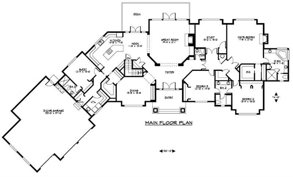 Craftsman luxury home with 4 bedrms 7372 sq ft plan for Large ranch home floor plans