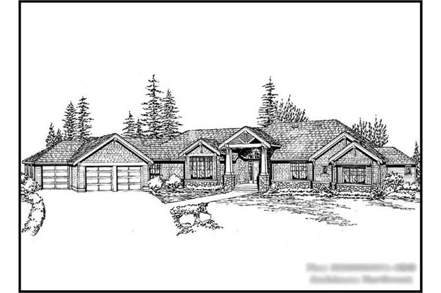 4-Bedroom, 7372 Sq Ft Craftsman Home Plan - 115-1142 - Main Exterior