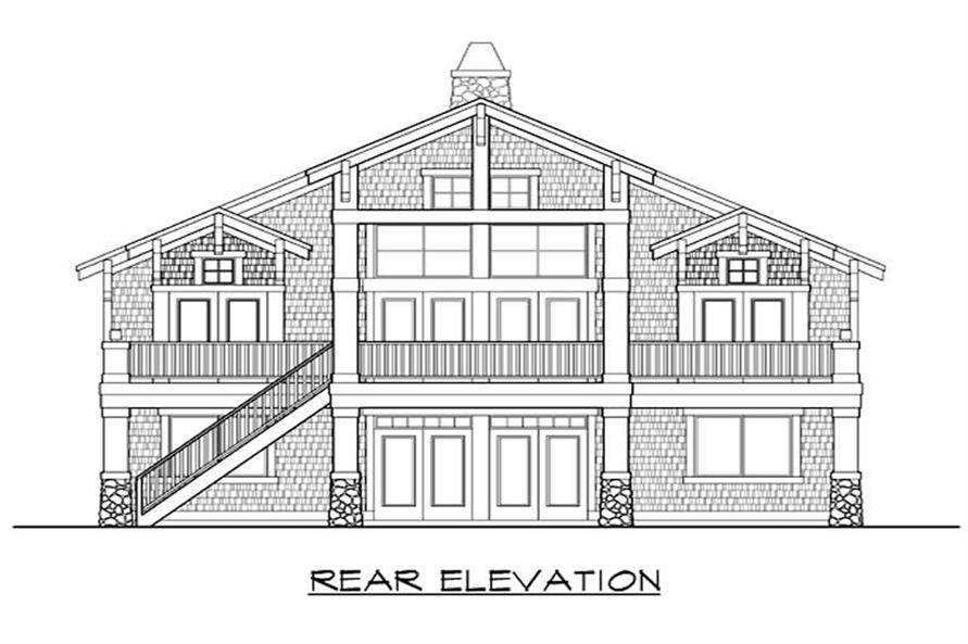 Home Plan Rear Elevation of this 4-Bedroom,3371 Sq Ft Plan -115-1143