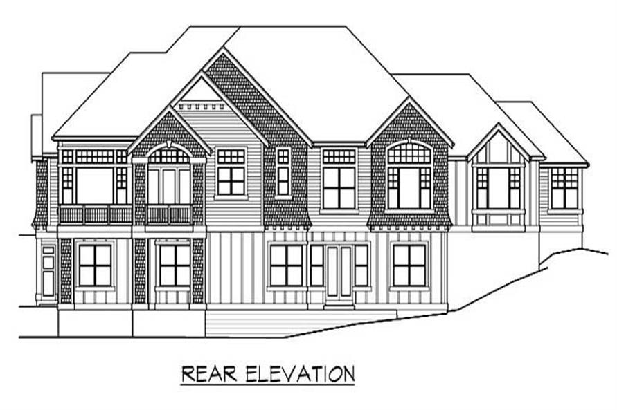 Home Plan Rear Elevation of this 4-Bedroom,4372 Sq Ft Plan -115-1155