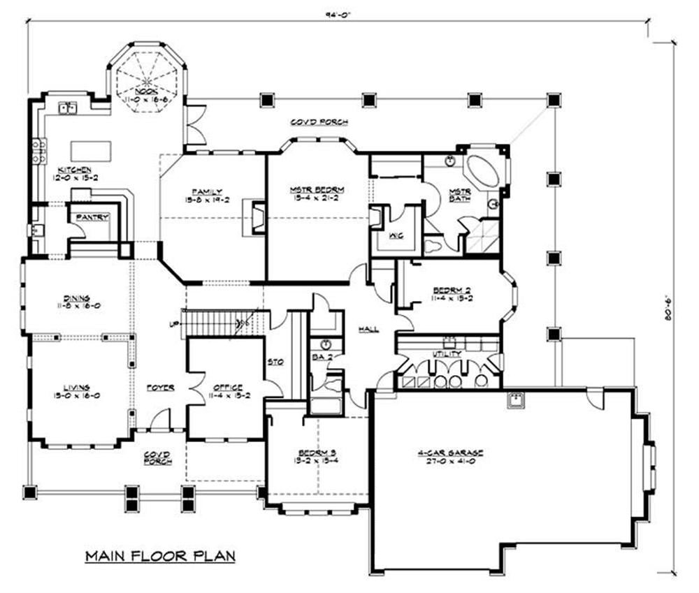 Luxury house plan 2 bedrms 2 baths 4000 sq ft 115 1156 for Floor plans for 4000 sq ft house