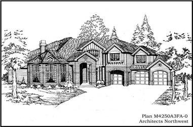 4-Bedroom, 4250 Sq Ft European Home Plan - 115-1166 - Main Exterior