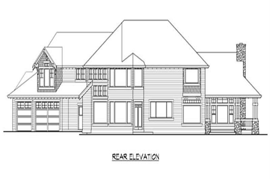 Home Plan Rear Elevation of this 5-Bedroom,4650 Sq Ft Plan -115-1167
