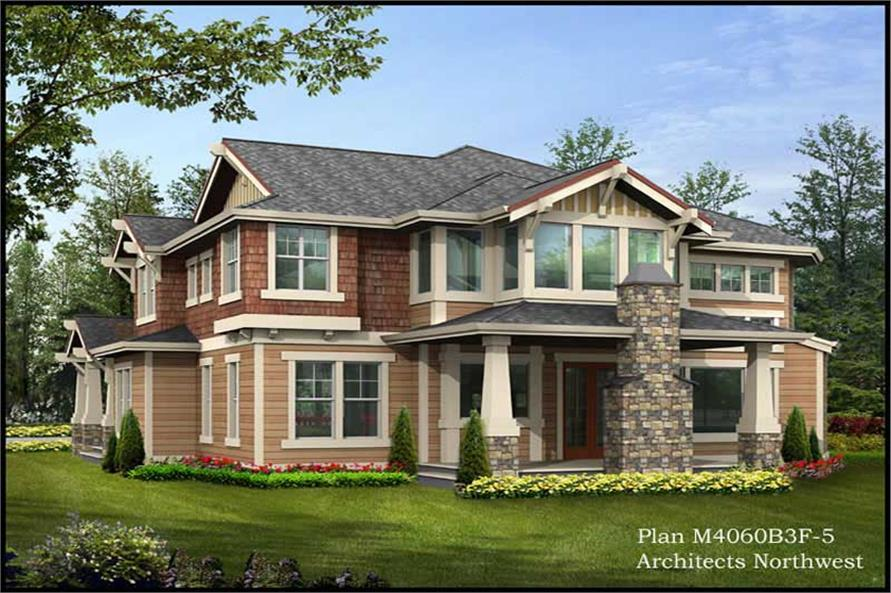 Home Plan Rear Elevation of this 4-Bedroom,4030 Sq Ft Plan -115-1168
