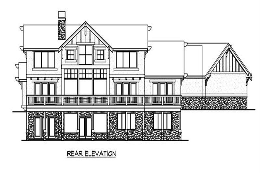 Home Plan Rear Elevation of this 5-Bedroom,4720 Sq Ft Plan -115-1173