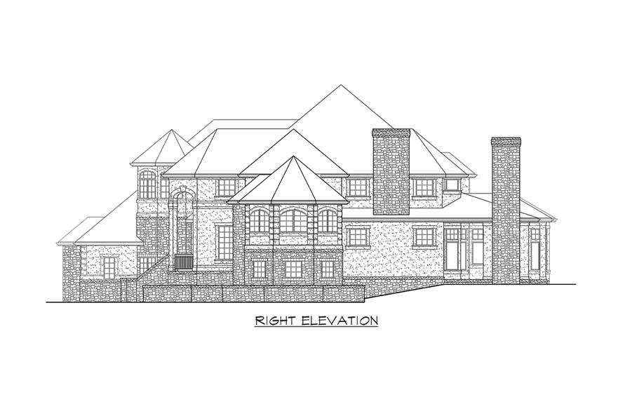Home Plan Right Elevation of this 4-Bedroom,4684 Sq Ft Plan -115-1174
