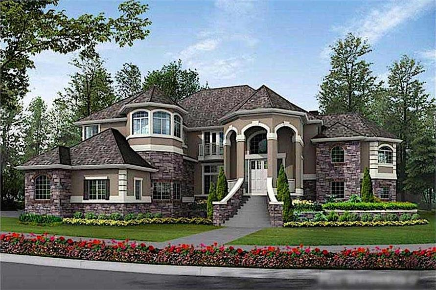 Home Plan Front Elevation of this 4-Bedroom,4684 Sq Ft Plan -115-1174