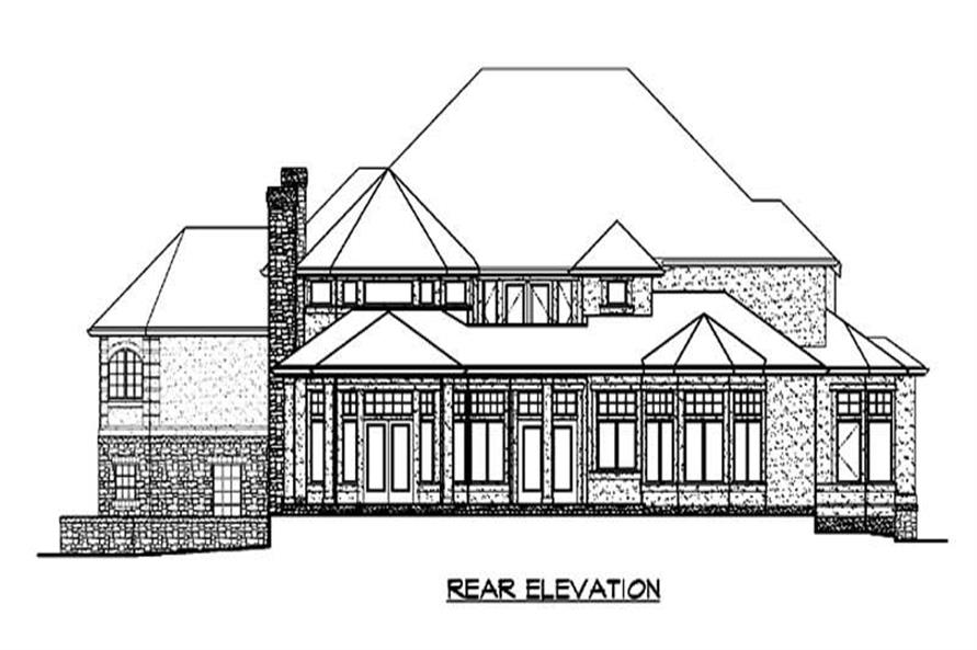 Home Plan Rear Elevation of this 4-Bedroom,4684 Sq Ft Plan -115-1174