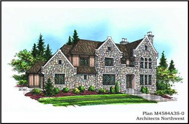 4-Bedroom, 4584 Sq Ft European Home Plan - 115-1175 - Main Exterior