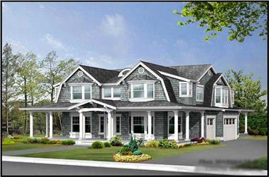 4-Bedroom, 4566 Sq Ft Country Home Plan - 115-1176 - Main Exterior