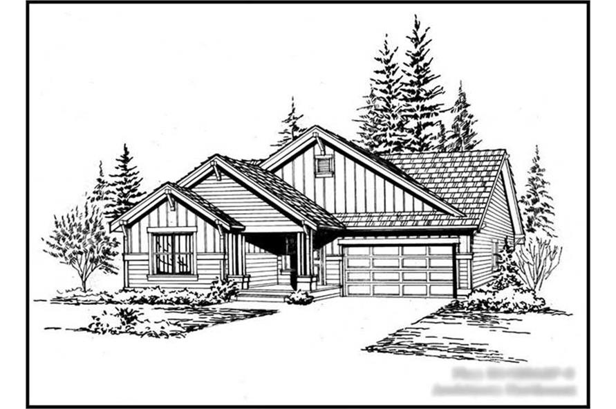 2-Bedroom, 1428 Sq Ft Ranch House Plan - 115-1177 - Front Exterior