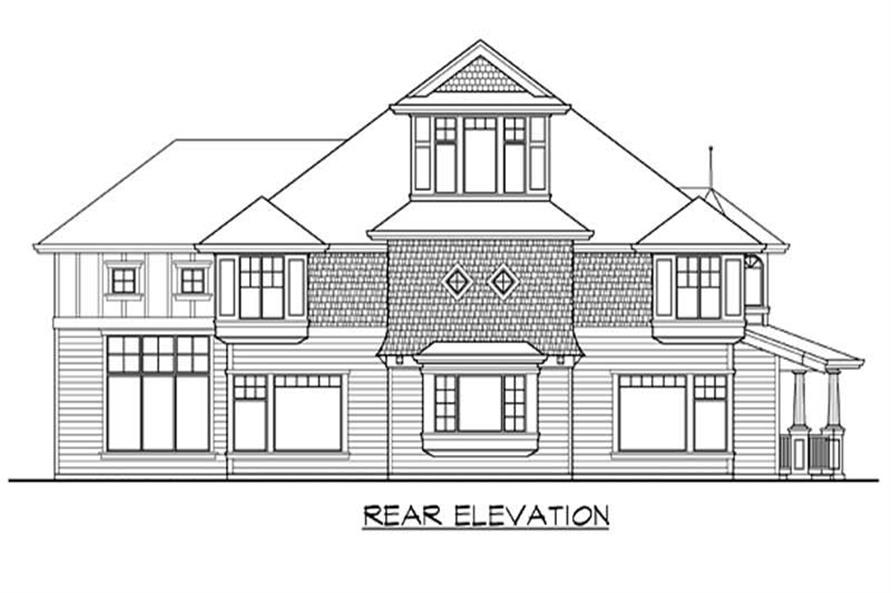 Home Plan Rear Elevation of this 5-Bedroom,5275 Sq Ft Plan -115-1180
