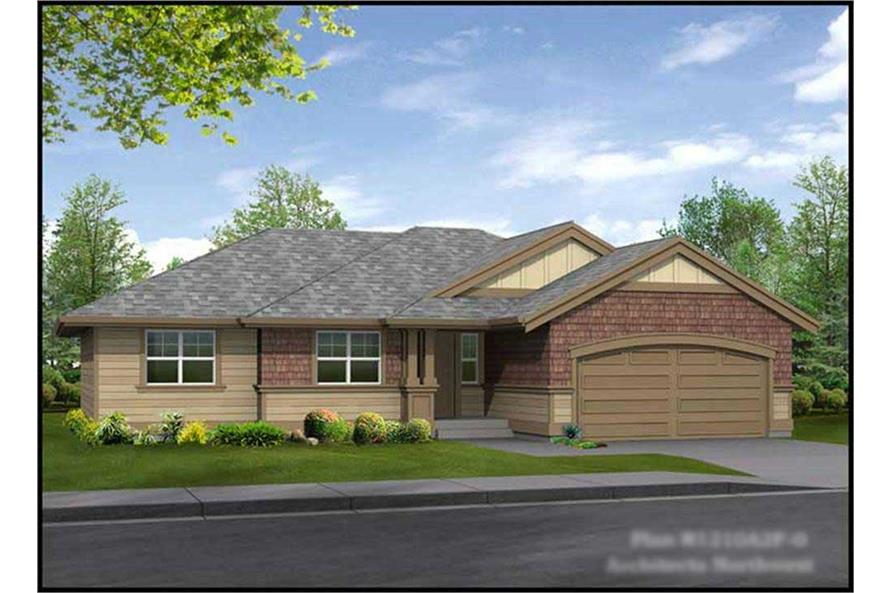 3-Bedroom, 1210 Sq Ft Ranch House Plan - 115-1181 - Front Exterior