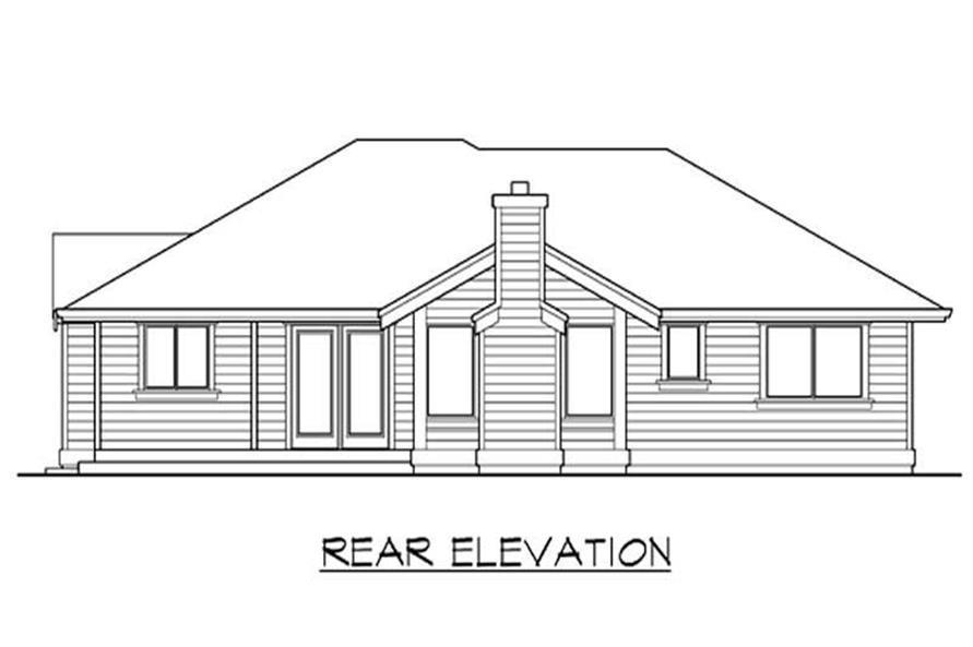 Home Plan Rear Elevation of this 3-Bedroom,1210 Sq Ft Plan -115-1181