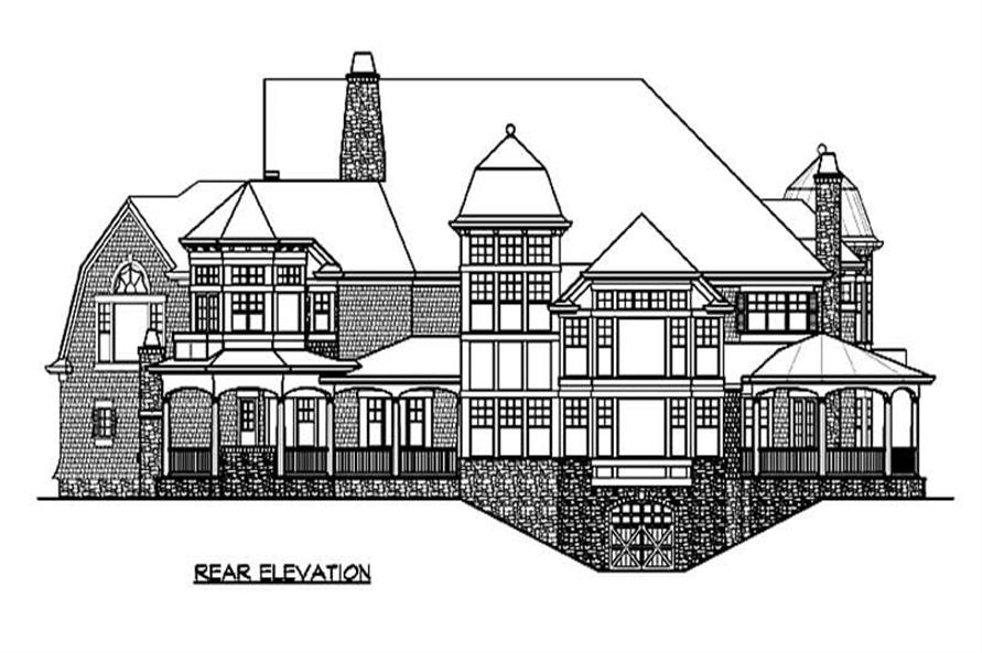 Home Plan Rear Elevation of this 4-Bedroom,7985 Sq Ft Plan -115-1182