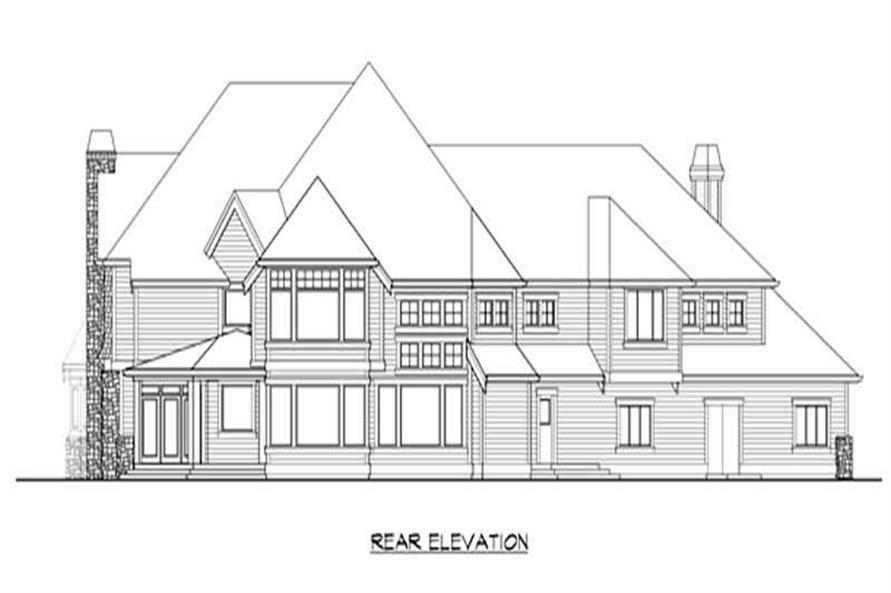 Home Plan Rear Elevation of this 5-Bedroom,5865 Sq Ft Plan -115-1186