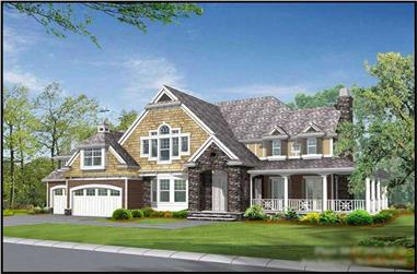 4-Bedroom, 4720 Sq Ft Country House Plan - 115-1187 - Front Exterior