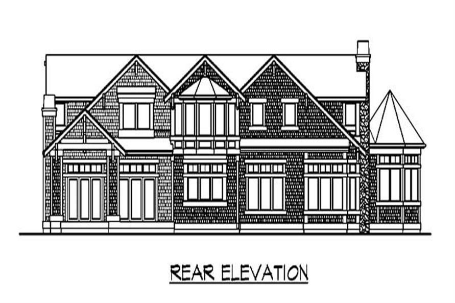 Home Plan Rear Elevation of this 3-Bedroom,4019 Sq Ft Plan -115-1189
