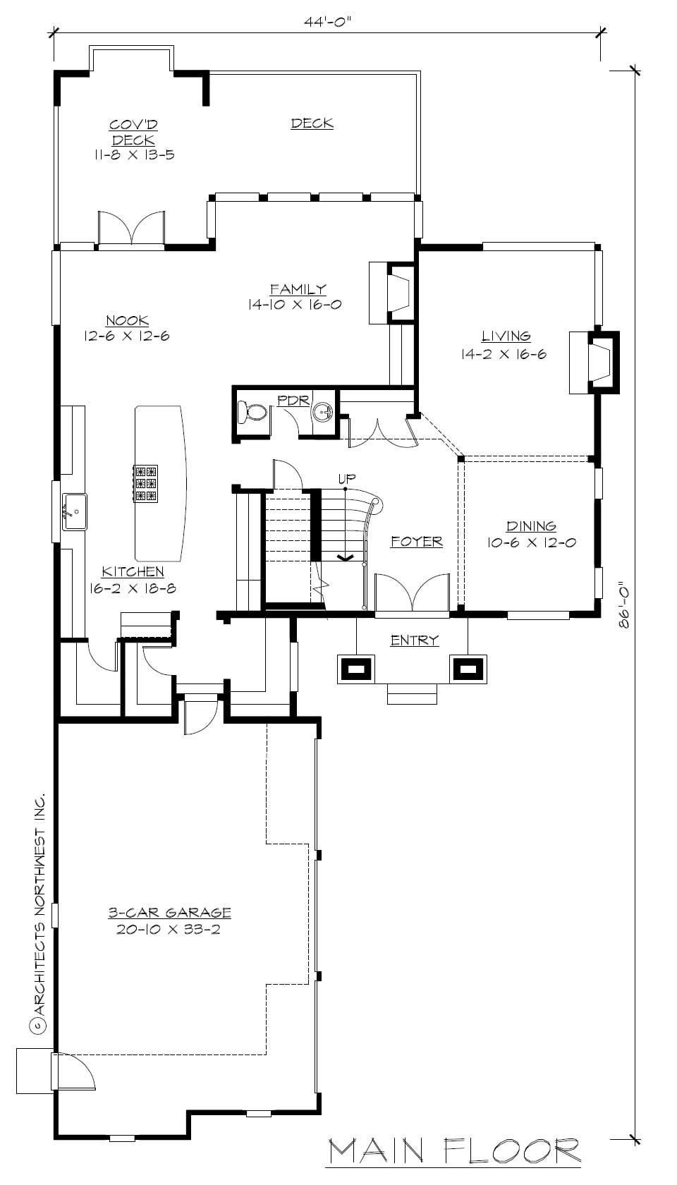 Floor Plan First Story for Prairie House Plans CD-M5003A3S-0