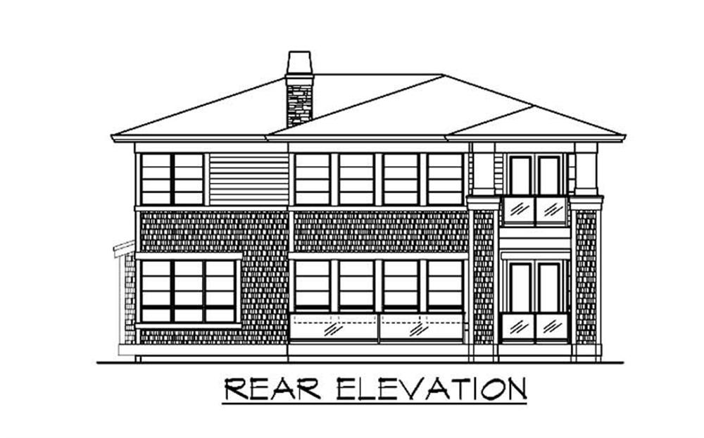Home Plan Rear Elevation for Praire House Plans CD-M5003A3S-0