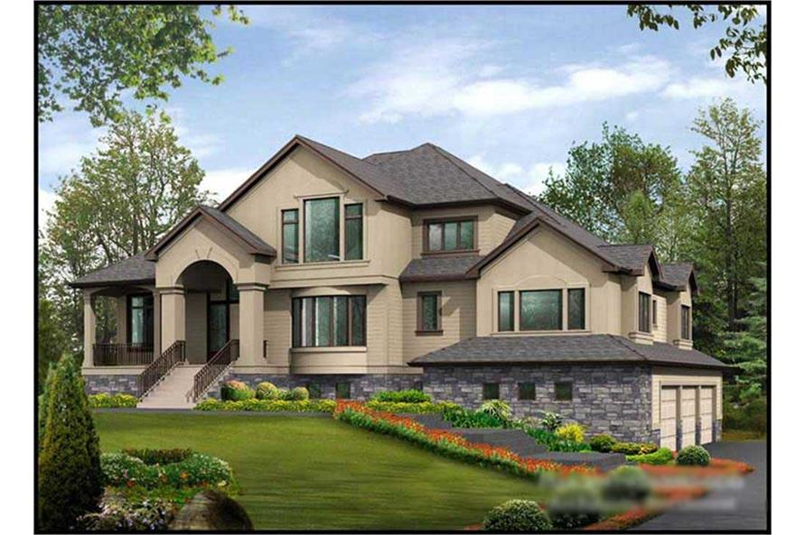 4-Bedroom, 4795 Sq Ft Luxury House Plan - 115-1191 - Front Exterior