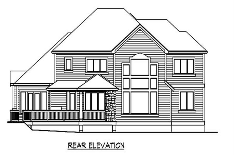 Home Plan Rear Elevation of this 4-Bedroom,4795 Sq Ft Plan -115-1191