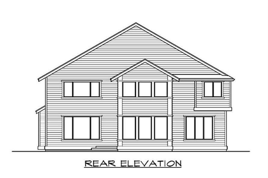 Home Plan Rear Elevation of this 4-Bedroom,3200 Sq Ft Plan -115-1192