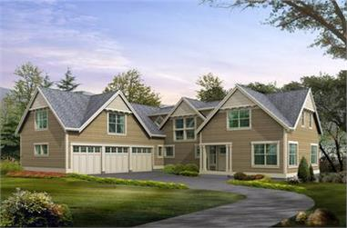 3-Bedroom, 3781 Sq Ft Craftsman Home Plan - 115-1193 - Main Exterior