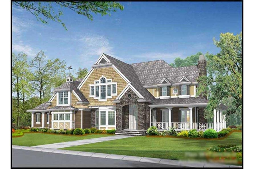 4-Bedroom, 5045 Sq Ft Country House Plan - 115-1195 - Front Exterior