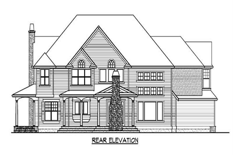 Home Plan Rear Elevation of this 4-Bedroom,5045 Sq Ft Plan -115-1195