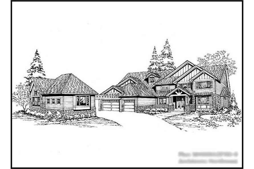 4-Bedroom, 4950 Sq Ft Craftsman House Plan - 115-1198 - Front Exterior