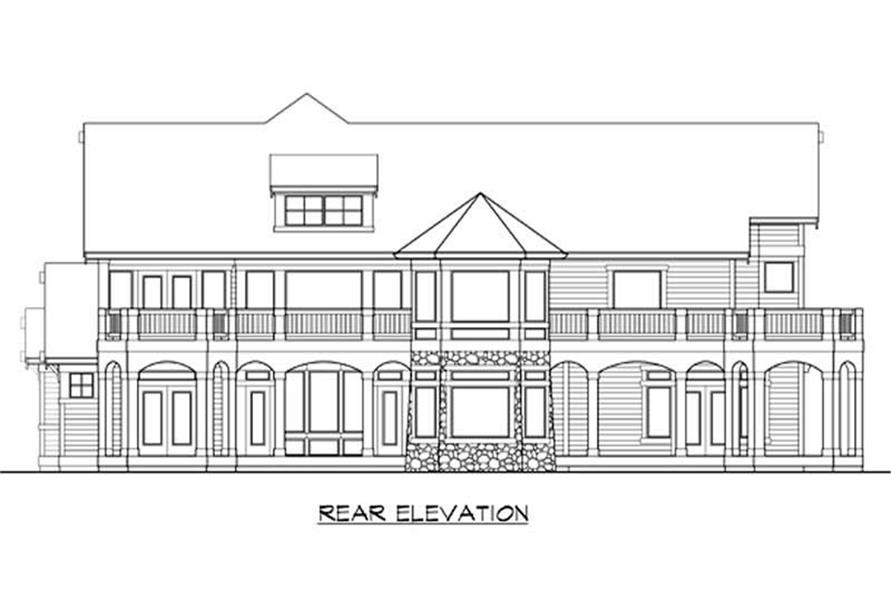 Home Plan Rear Elevation of this 4-Bedroom,4950 Sq Ft Plan -115-1198