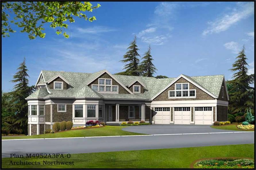 3-Bedroom, 3886 Sq Ft Multi-Level House Plan - 115-1199 - Front Exterior