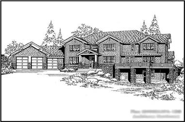 5-Bedroom, 5491 Sq Ft Luxury House Plan - 115-1200 - Front Exterior