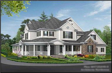 4-Bedroom, 4725 Sq Ft Country House Plan - 115-1201 - Front Exterior
