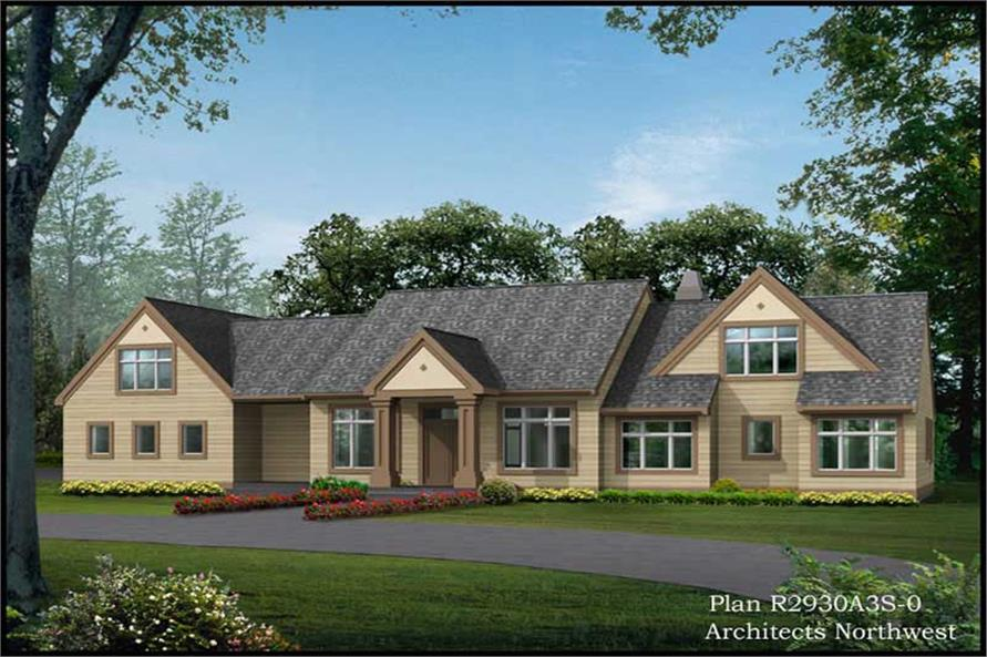Front Elevation of this 3-Bedroom,2930 Sq Ft Plan -2930