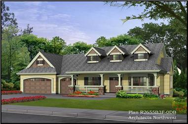 3-Bedroom, 2705 Sq Ft Cape Cod Home Plan - 115-1205 - Main Exterior