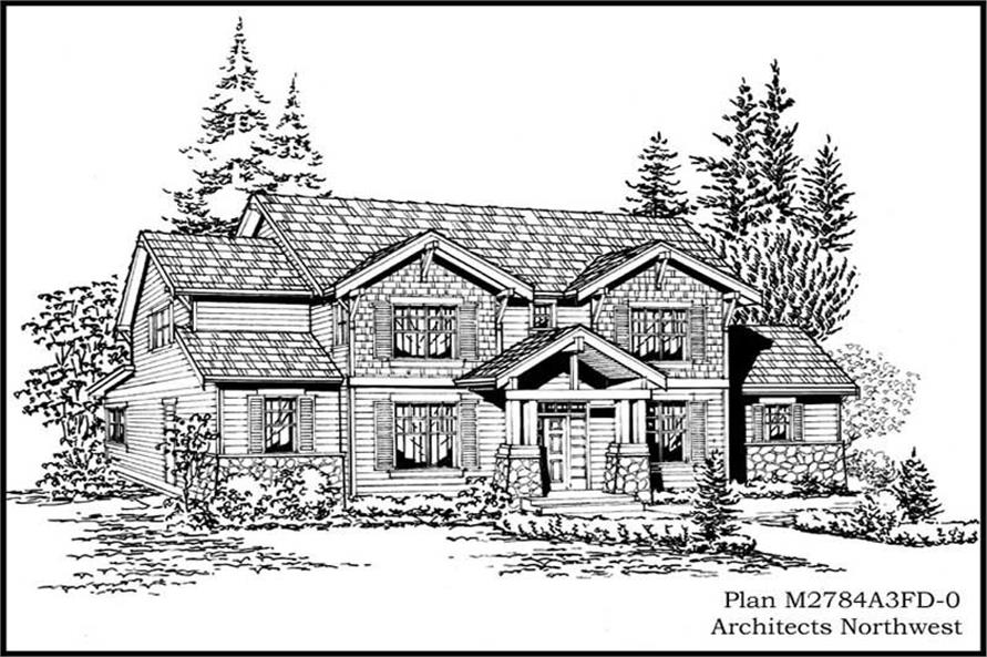4-Bedroom, 2784 Sq Ft Craftsman Home Plan - 115-1211 - Main Exterior