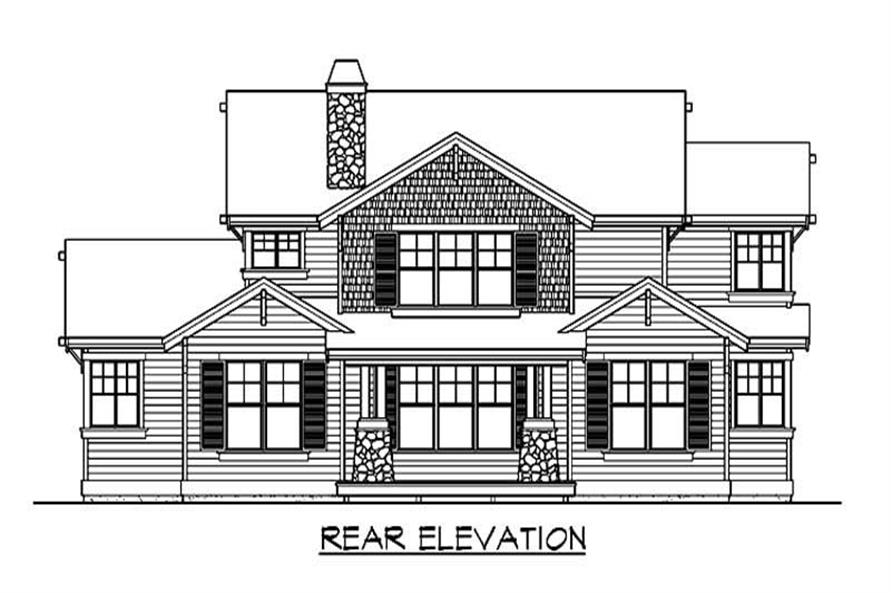 Home Plan Rear Elevation of this 4-Bedroom,2784 Sq Ft Plan -115-1211