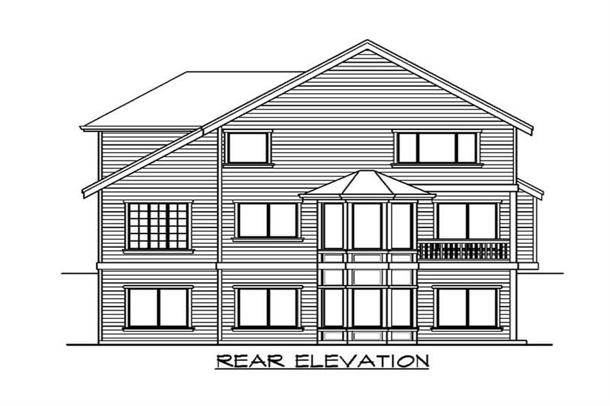Home Plan Rear Elevation of this 5-Bedroom,4582 Sq Ft Plan -115-1213