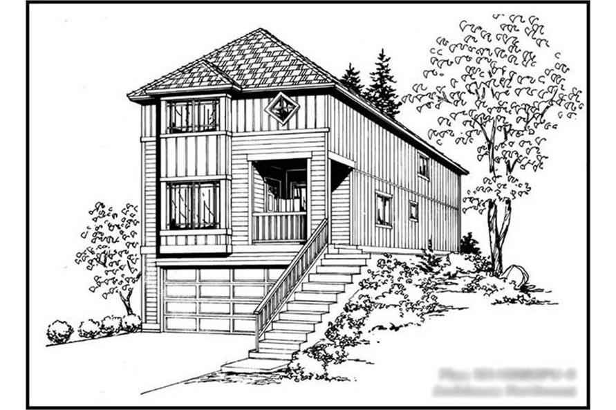 4-Bedroom, 1488 Sq Ft Multi-Level Home Plan - 115-1214 - Main Exterior