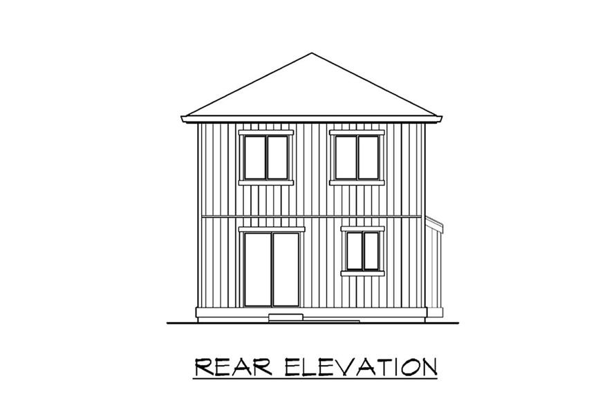 Home Plan Rear Elevation of this 4-Bedroom,1488 Sq Ft Plan -115-1214