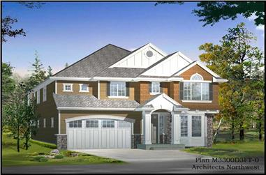 4-Bedroom, 3220 Sq Ft Traditional Home Plan - 115-1216 - Main Exterior