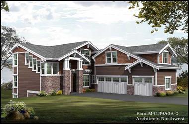 3-Bedroom, 3009 Sq Ft Multi-Level Home Plan - 115-1217 - Main Exterior