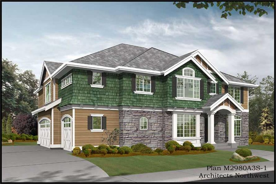 4-Bedroom, 3009 Sq Ft Traditional House Plan - 115-1218 - Front Exterior