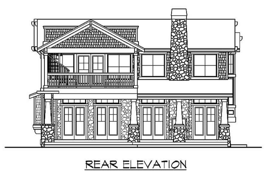 Home Plan Rear Elevation of this 4-Bedroom,3454 Sq Ft Plan -115-1219